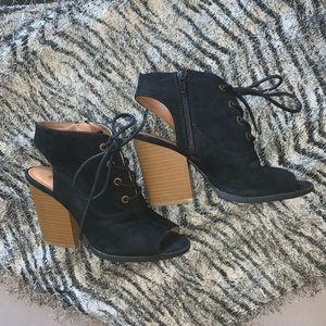 Quipd 5 1/2 open toe heels.